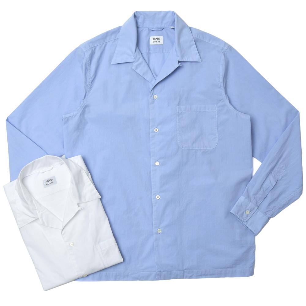 【SALE30】ASPESI(アスペジ)コットンブロードソリッドオープンカラーシャツ KINGPIN/ACE53E030 11005007109