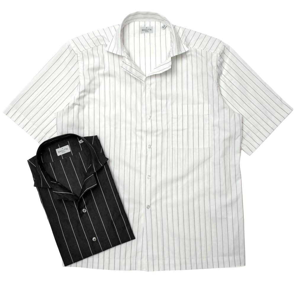国内正規品 送料無料 あす楽対応 guji Bagutta バグッタ ウォッシュドコットンペンシルストライプS GM 11190 Sオープンカラーシャツ セール特別価格 11011002054 MAUI 買い物