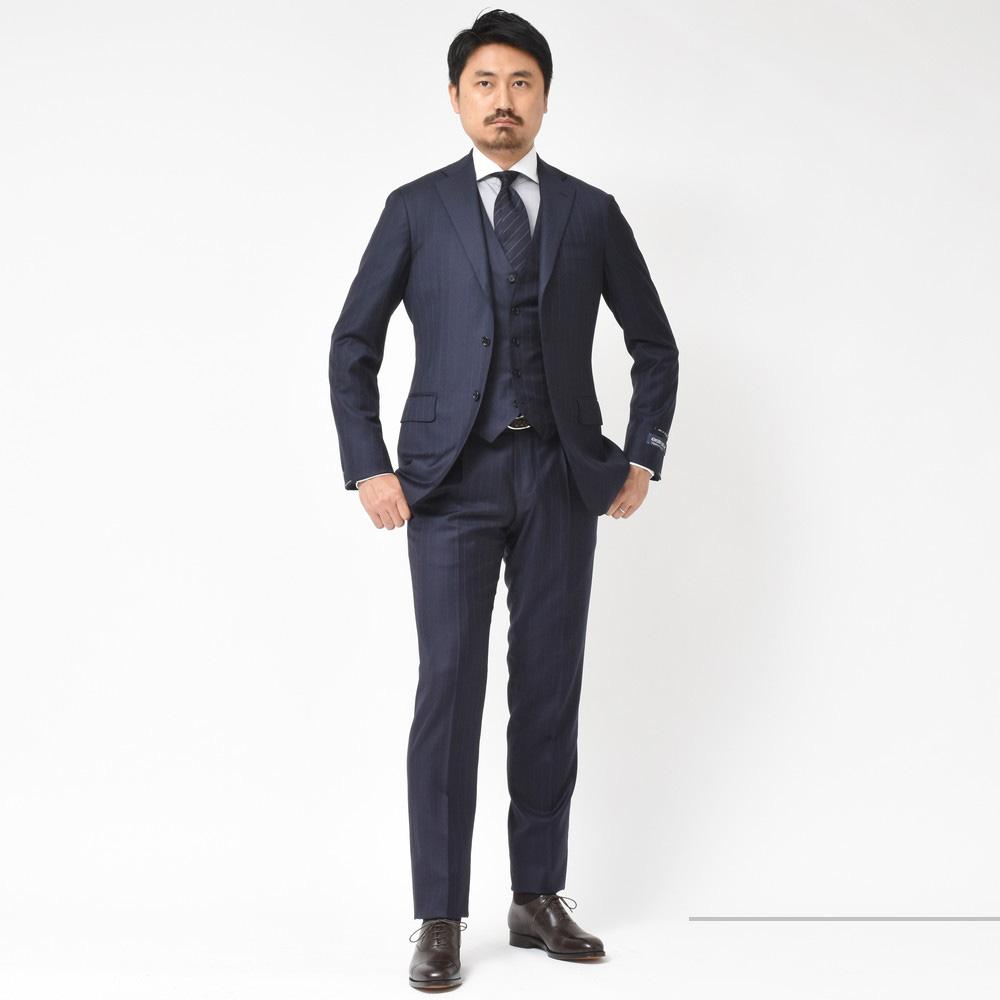 e1f676c1b5135 スーツ:RING JACKET ジレ:RING JACKET シャツ:BARBA ネクタイ:Atto Vannucci 靴:BAUDOIN LANGE  ベルト:ARALDI1930
