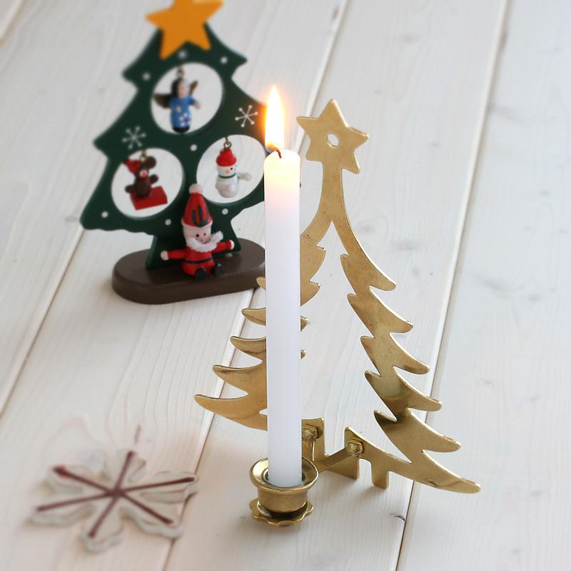 イタリア製真鍮燭台キャンドル3色おまけ付き! 燭台 イタリア製 真鍮製品 ローソク立て キャンドルフォルダー (キャンドルスタンド クリスマスツリー)(CIC005-PB)