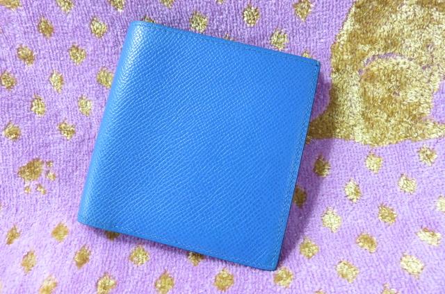 【美品】 HERMES エルメス 二つ折り財布 カード入れ 札入れ クシュベル レディース ブルー 青 □B刻印 1998年美品 2つ折り 【中古】