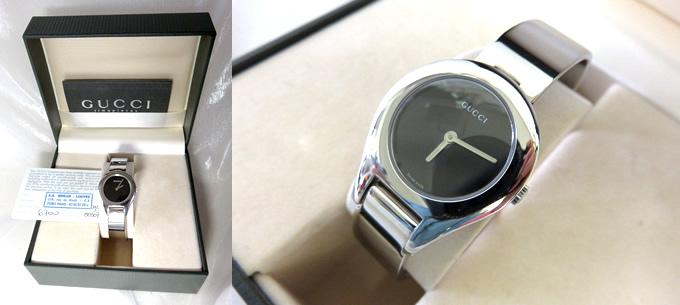 グッチ GUCCI 腕時計 ウォッチ 6700L 黒文字盤 SS バングルブレス クォーツ 二針 シルバー ブラック 付属品付き 【中古美品】