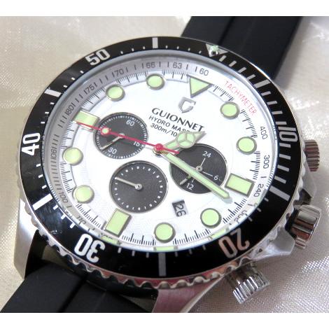 【極美品】 ギオネ GUIONNET ハイドロマスター プロダイバー クロノグラフ HM44 メンズ 腕時計 PG-HM44SWHRB 【中古】