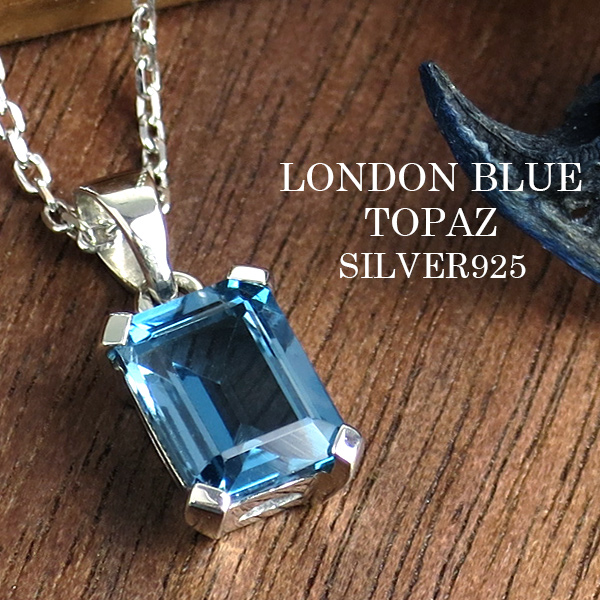 Square Type London Blue Topaz Silver Necklace Nature Stone Power Ladys November Amulet For An Easy Delivery Woman Present Birthday