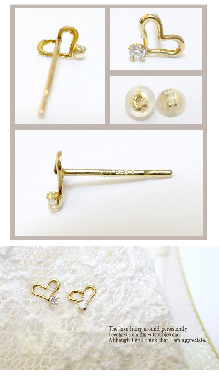 供供0.01ct钻石K10 opunhatosutazzupiasu(2P)10钱10k k10 ierogorudosutazzusutaddoredisu女性使用的Ladies pierce耳环礼物礼物BOX女士无环耳环女性使用的无环耳环