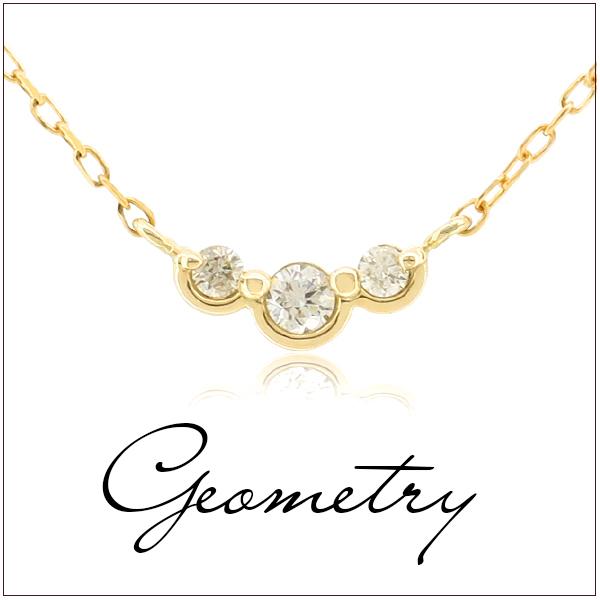 ダイヤモンド ジオメトリー K10ゴールド ネックレス幾何学 レディース ネックレス ゴールドアクセサリー 女性ダイヤモンド K10 プレゼント 誕生日 記念日 ギフトBOX ジュエリー