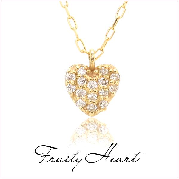 ダイヤモンド パヴェプチハート K10ゴールド ネックレスはーと レディース ネックレス ゴールドアクセサリー 女性ダイヤモンド K10 プレゼント 誕生日 記念日 ギフトBOX ジュエリー