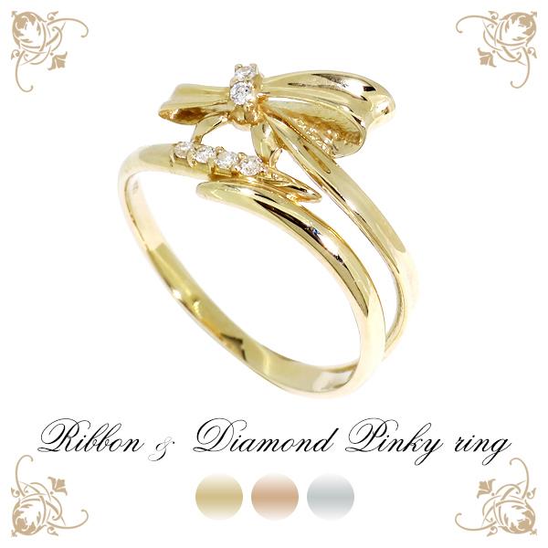 K10 選べる3カラー ダイヤモンド リボン リング 1号~5号 10金 10k k10 YG WG PG イエロー ピンク ホワイト ゴールド レディース 女性 指輪 プレゼント 誕生日 記念日 ギフトBOX ジュエリー 人気 彼女 かわいい おしゃれ
