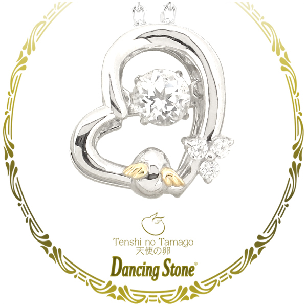 天使の卵 ダンシングストーン スワロフスキー ジェムストーン トパーズ ハート シルバーネックレスシルバー925 レディース ネックレス 女性 ペンダント ジュエリー