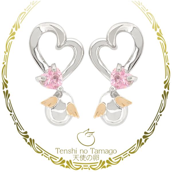 天使の卵 天使の卵の シルバー950 K10 ハートカットジルコニア ピアス 2P 両耳用 レディース GOLD レディ-ス 女性 耳飾り 天使のたまご K10金 ジュエリー