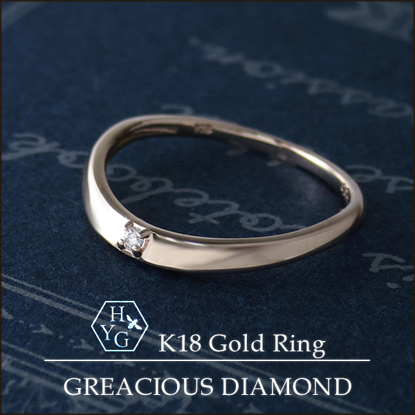 K18 ハニーイエローゴールド 天然 グレーシャスダイヤモンド リング 1~7号 18金 18k K18YG ゴールド ハニーゴールド ダイヤモンド 天然ダイヤ 台形 ストレート 平打ち ピンキーリング シンプル 指輪 レディース 女性 プレゼント ギフトBOX ブランド 人気 おすすめ