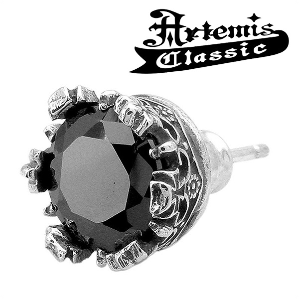 Black Stone Clung Stud Earrings 1 P Piece For The Ear Artemis Clic Men S Silver 925 Mens Earring Pierce