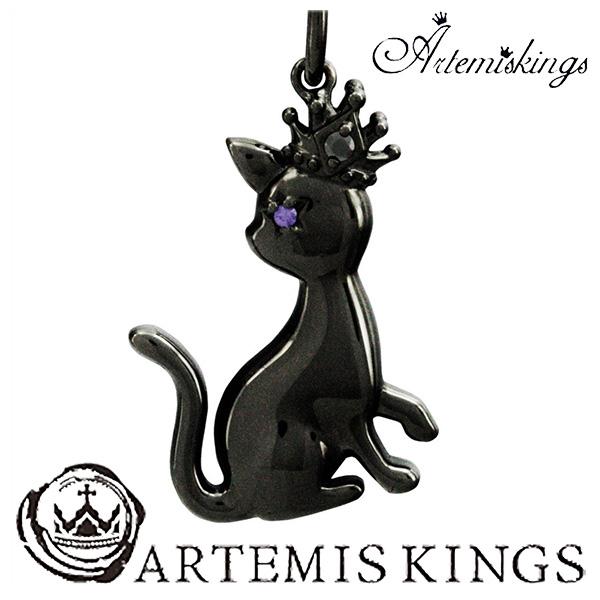 Artemis Kings AK アニマル チャームネックレス(チェーン付き) ブラックキャット アルテミスキングス 猫 ネコ 黒猫 メンズ ネックレス レディース 男性用 女性用 シルバーネックレス メンズネックレス 男性用ネックレス ブランド プレゼント 人気 かわいい おしゃれ