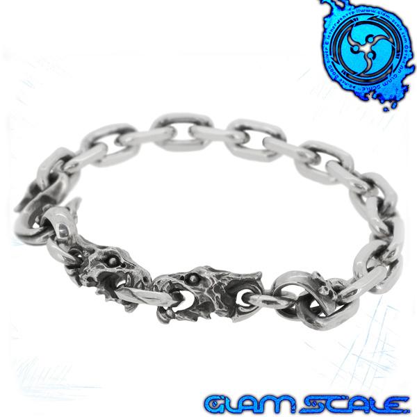 GLAM SCALE 6B-004S 6ix ワイバーン シルバー ブレスレット シルバー925 メンズ ブレス クロス 竜 龍 ドラゴン 6b004 メンズブレスレット グラムスケイル ブランド プレゼント 人気