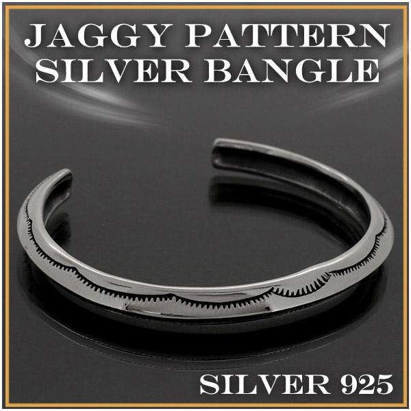 ジャギー模様 シルバー バングル ブレスレット ブレス メンズ レディース アクセサリー ジャギー 歯型 ギザギザ Silver925 プレゼント 人気 おしゃれ