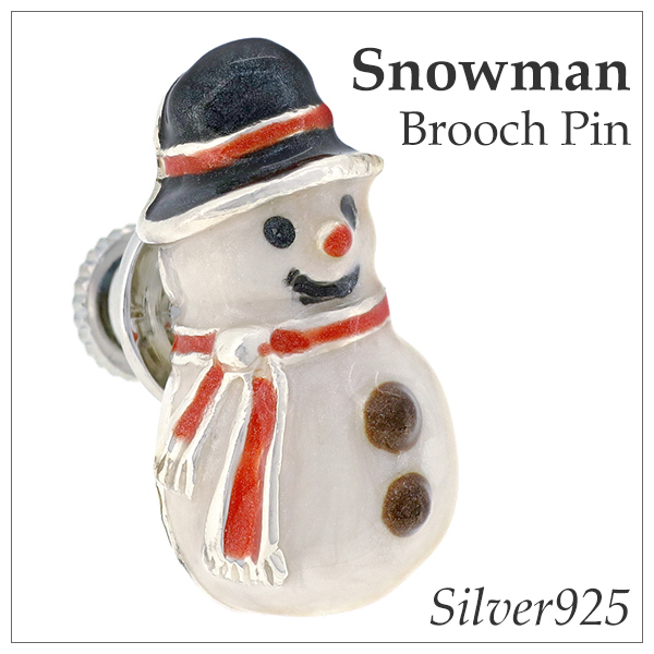 雪だるま シルバー ピンブローチ シルバーピンブローチ SILVER 925 シルバーアクセサリー ピン ブローチ スノーマン エナメル クリスマス プレゼント ウインター 冬 留め具 銀装飾 人気 おしゃれ