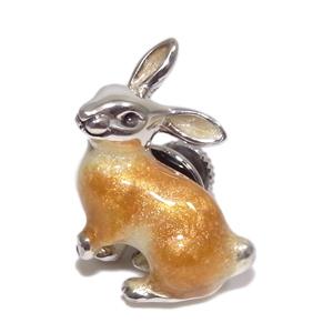 ブラウンラビット ウサギ のシルバーピンブローチ SILVER925 留め具 銀装飾 シルバーブローチ うさぎ 兎 ブローチ シルバーピンブローチ プレゼント 人気 おしゃれ