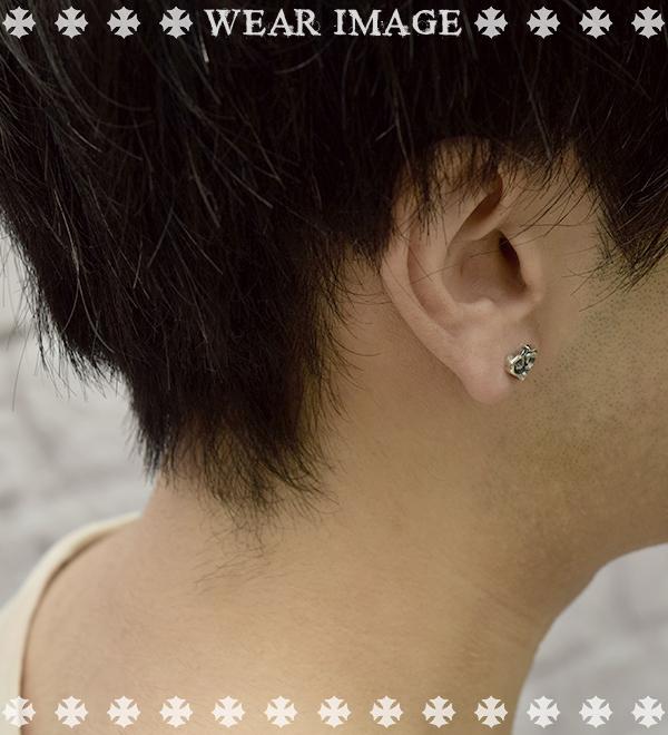 Silver 925 Accessories Lock Men Brand Item House Of Shinjuku Deal Design Blaze Heart Studs Pierced Earrings