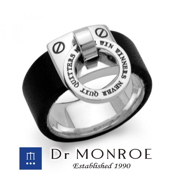 Dr MONROE ドクターモンロー ノックレザーリング ドアノッカー 英語 英字 英文 メッセージ ブランド シルバーアクセサリー シルバー925 シルバー スターリングシルバー シルバーリング 指輪 革 牛革 レザー 革小物 メンズ レディース アクセサリー プレゼント おしゃれ