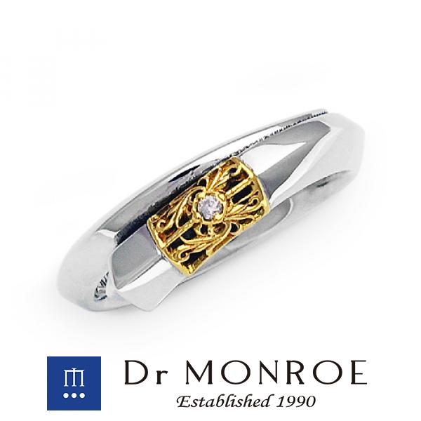 Dr MONROE ドクターモンロー 18金 ユニセックス&ペアリング スモールタイプ 唐草 アラベスク アイビー アカンサス 植物 ペア ブランド シルバーアクセサリー シルバー925 シルバー スターリングシルバー シルバーリング 指輪 18金 K18 18K イエローゴールド ダイヤモンド