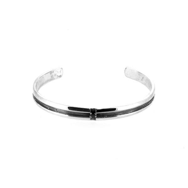 クロス バングル ブラックCZ ライン ジルコニア シンプル ブレスレット バングル 腕輪 シルバー925 銀 シルバーアクセサリー メンズ レディース 男性 女性 アクセサリー ギフト プレゼント おしゃれ