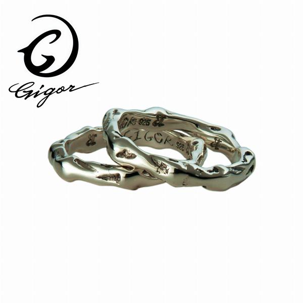 GIGOR ジゴロウ ダブルリング SLEED series スリードシリーズ 骨 スカル 骸骨 ボーン シンプル キレイめ スマート 2連 2重 重ね着け シルバー925 シルバーアクセサリー 銀 SV925 指輪 シルバーリング 銀指輪 メンズリング レディースリング メンズ ハード 存在感