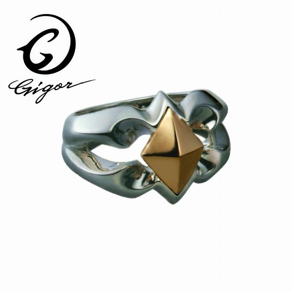 GIGOR ジゴロウ ダイヤリング FIENAL series フィーナルシリーズ ダイヤ型 波 曲線 ウェーブ トライバル タトゥー K18 18金 ゴールド コンビ 別素材 異素材 シルバー925 シルバーアクセサリー 銀 SV925 ゴールドアクセサリー 指輪 シルバーリング 銀指輪 メンズリング