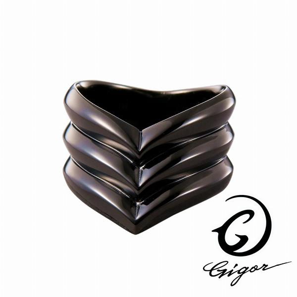 GIGOR ジゴロウ トリプルエンジィリング FIENAL series フィーナルシリーズ ブラックコーティング 黒 V字 V型 ブイ 太目 太い ボリューム シルバー925 シルバーアクセサリー 銀 SV925 指輪 シルバーリング 銀指輪 メンズリング レディースリング メンズ ハード 存在感