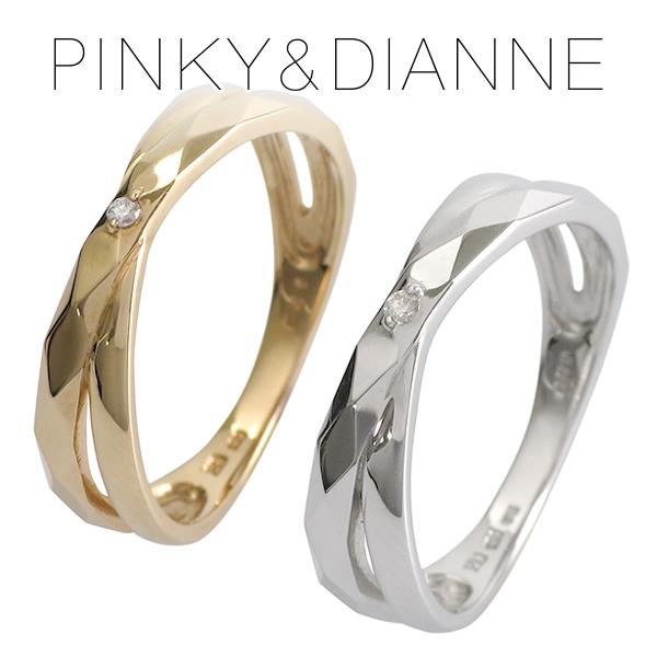 ピンキー&ダイアン ダイヤモンド 2連 クロス ゴールドリング 6~16号 K10 ゴールド リング 指輪 10金 レディース 二連風 重ねづけ 女性 プレゼント 記念日 誕生日 ブランド 人気 彼女 かわいい おしゃれ