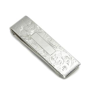 フラワーカービングシルバーマネークリップ 925 シルバ- Smart MoneyClip 銀製札挟み プレゼント 人気 おしゃれ