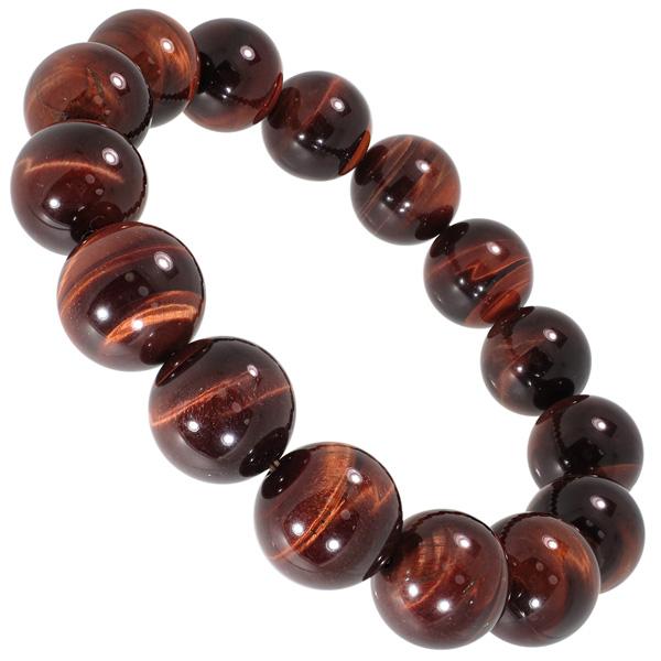 14 Mm 18 5 Cm Red Tiger Eye Bracelet Mens Size L Natural Stone