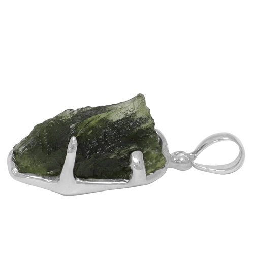 Moldavite Gemstone Silver Pendant Natural Stone Mens Las Necklace Meteorite Head Charm Top