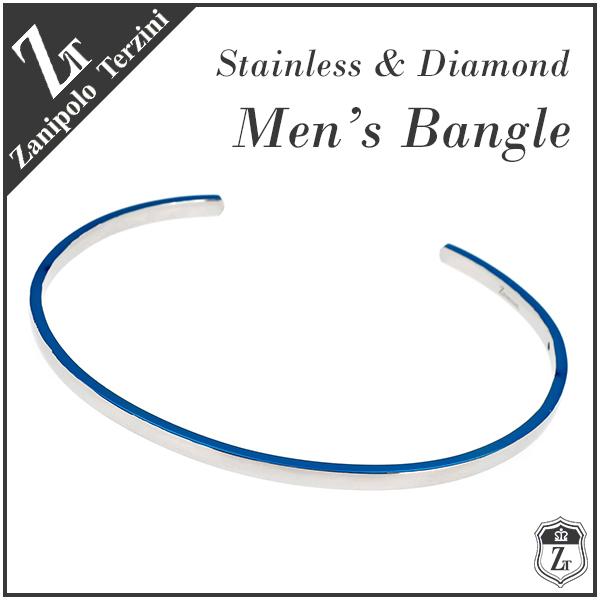 ザニポロタルツィーニ ブルー ダイヤモンド サージカルステンレス バングル メンズバングル ブレスレット ダイヤ シンプル 青 メンズブレスレット ブレス メンズブレス Zanipolo Terzini ブランド 彼氏 人気 プレゼント おしゃれ