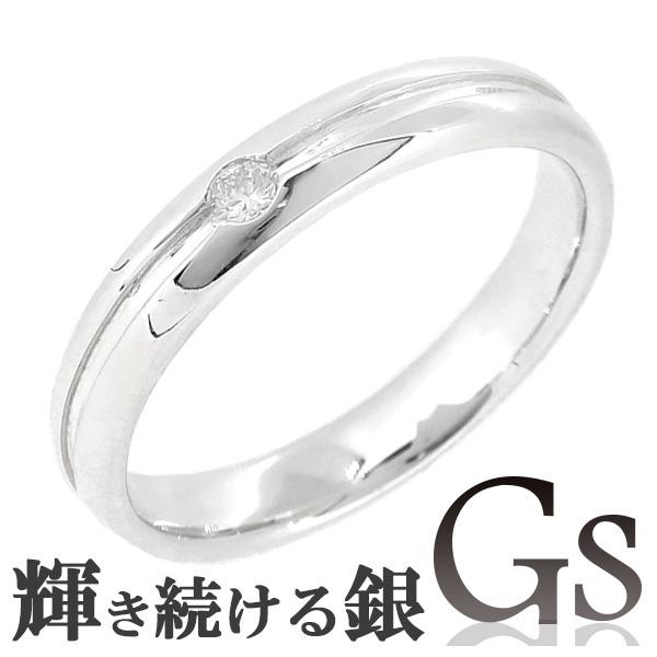 メッセージ刻印無料 GS ジーエス ライン ダイヤモンド シルバーリング 7~13号 レディース リング 女性用 指輪 シルバー 銀指輪 銀の蔵 マリッジリング シンプル 結婚指輪 ネームオーダー プレゼント 人気 かわいい おしゃれ