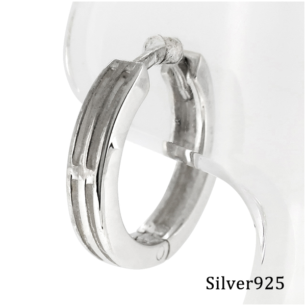 Watermark Mens Earring Hoop Silver Earrings 925 Women Shinjuku Collection Line Grid Hoopsilver Piercing Ear For 1 P Piece