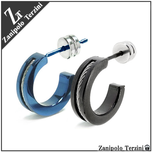 2 Color Rope Line Surgical Stainless Steel Half Hoop Earrings 1 P Piece For Ears Men S Mens Pierce Man