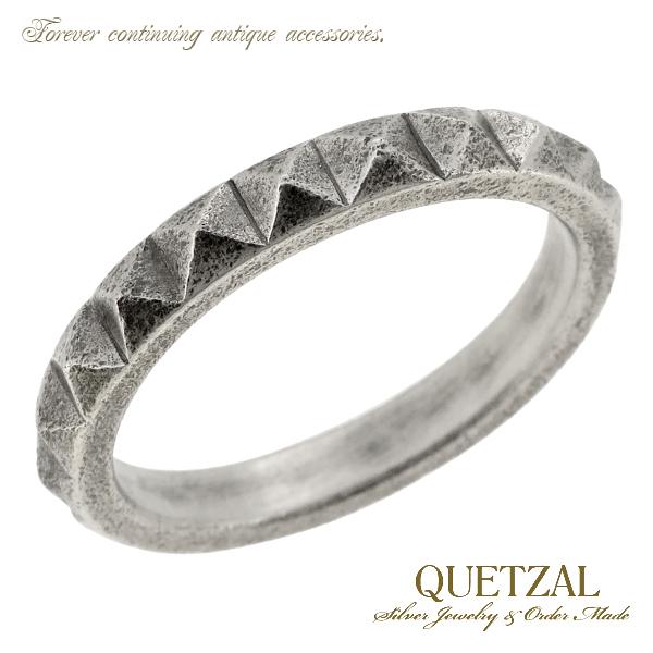 Quetzal スタッズリング シルバーリング 9号~23号 ブランド リング シルバー925 メンズ ケツァール ケツアール アンティーク ヴィンテージ ゴシック ロココ 鋲 パンク ピラミッド 指輪 建築 美術 プレゼント 人気 おしゃれ