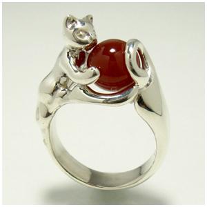 11種類の丸玉付き 天然石とじゃれるネコ シルバーリング 9~23号 指輪 リング Ringメンズ レディース 男性女性指輪 プレゼント 人気 かわいい おしゃれ
