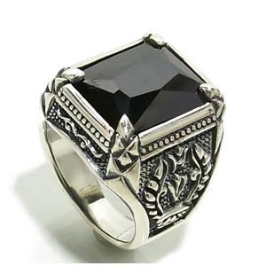 ブラックジルコニア 王の印台 シルバーリング 17~23号 シルバー リング ジルコニア メンズ シルバー925 男性 指輪 印台リング メンズリング 男性用指輪 プレゼント 人気 おしゃれ