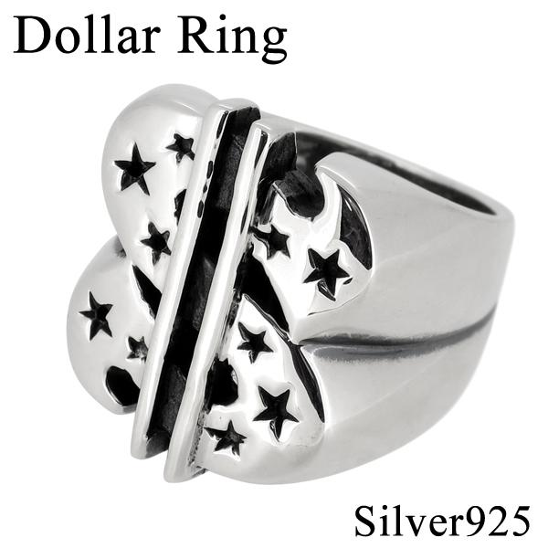 ドル スター シルバーリング 14~20号 シルバーアクセサリー メンズ リング 男性用 指輪 $ 星 dollar メンズリング 男性用指輪 プレゼント 人気 おしゃれ