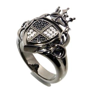 AVALON 王家の紋章 ブラック シルバーリング 17~23号 メンズ リング シルバー ジルコニア シルバー925 シルバーアクセサリー 男性 指輪 エンブレム 盾 シールド メンズリング 男性用指輪 ブランド プレゼント 人気 彼氏 おしゃれ