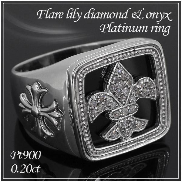 フレアリリー ダイヤモンド オニキス Pt900 プラチナリング 13~23号 プラチナ 指輪 男性用 ダイヤモンドリング ダイヤモンド指輪 ダイヤ メンズ リング メンズリング Platinum プレゼント 人気 おしゃれ