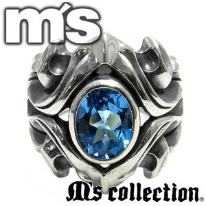 エムズコレクション ブルートパーズ シルバーリング 15~22号 メンズ シルバー925 男性用 Ring M's collection ブランド プレゼント 人気 彼氏 おしゃれ