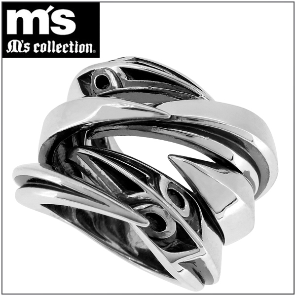 ハード シャープ シルバーリング 15~25号 M's collection メンズ リング シルバー シルバー925 男性 指輪 クロー 爪 透かし 葉 リーフ トライバル 紋章 銀の蔵 プレゼント 人気 おしゃれ