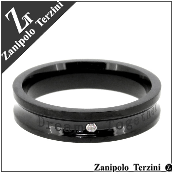 ザニポロタルツィーニ ブラック リール サージカルステンレス リング 17~23号 ステンレス アクセサリー メンズ 指輪 ライン 金属アレルギー アレルギーフリー プレゼント ギフト Zanipolo Terzini ブランド 人気 おしゃれ