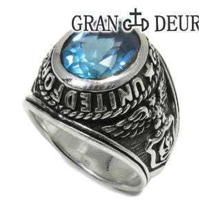 GRAN DEUR ブルートパーズ シルバー カレッジリング 17~25号 シルバーアクセサリー メンズ リング 男性用指輪 グランデューワー メンズリング ブランド プレゼント 人気 彼氏 おしゃれ