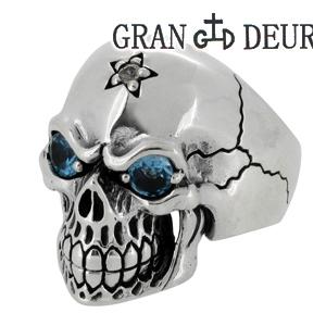GRAN DEUR ブルーアイズスカル シルバーリング 15~21号 シルバーアクセサリー メンズ リング 男性用 Ring ブルートパーズ ホワイトサファイア 天然石 ガイコツ 骸骨 ドクロ ブランド プレゼント 人気 彼氏 おしゃれ