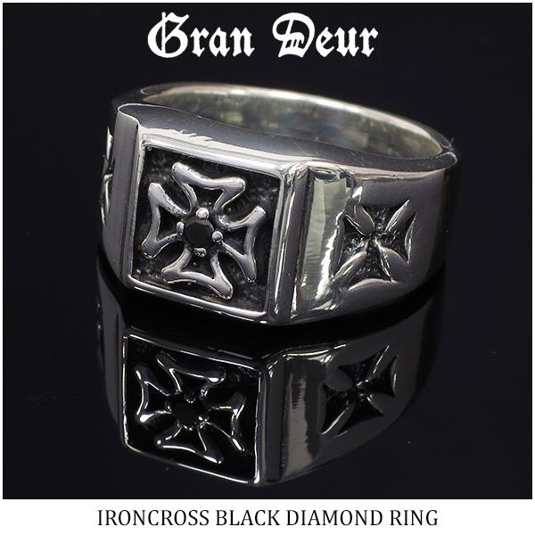 GRAN DEUR ブラックダイヤモンド アイアンクロス シルバーリング 17~21号 指輪 リング 鉄十字 ダイヤ ハード ゴージャス 天然石 印台 紋章 メンズリング ブランド プレゼント 彼氏 人気 おしゃれ