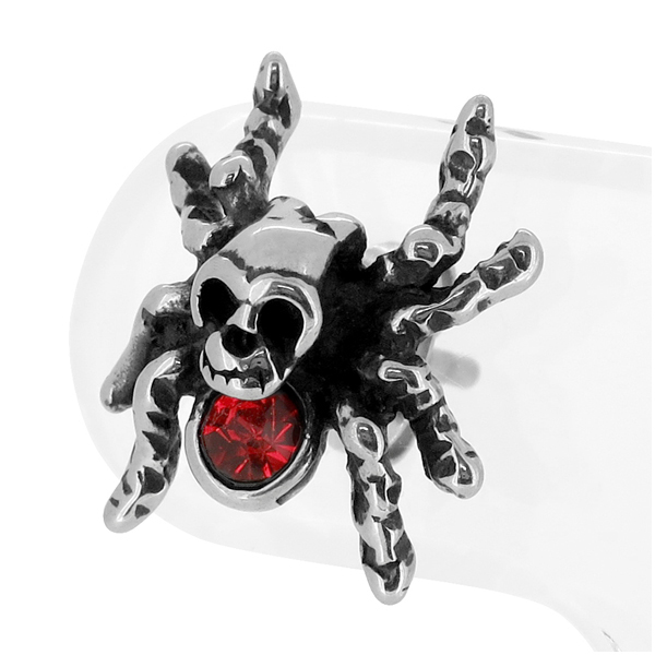 Spider Skull Zirconia Studded Surgical Stainless Steel Piercing 1 P Piece For The Ear Stud Earrings Rings Mens Silver Collection