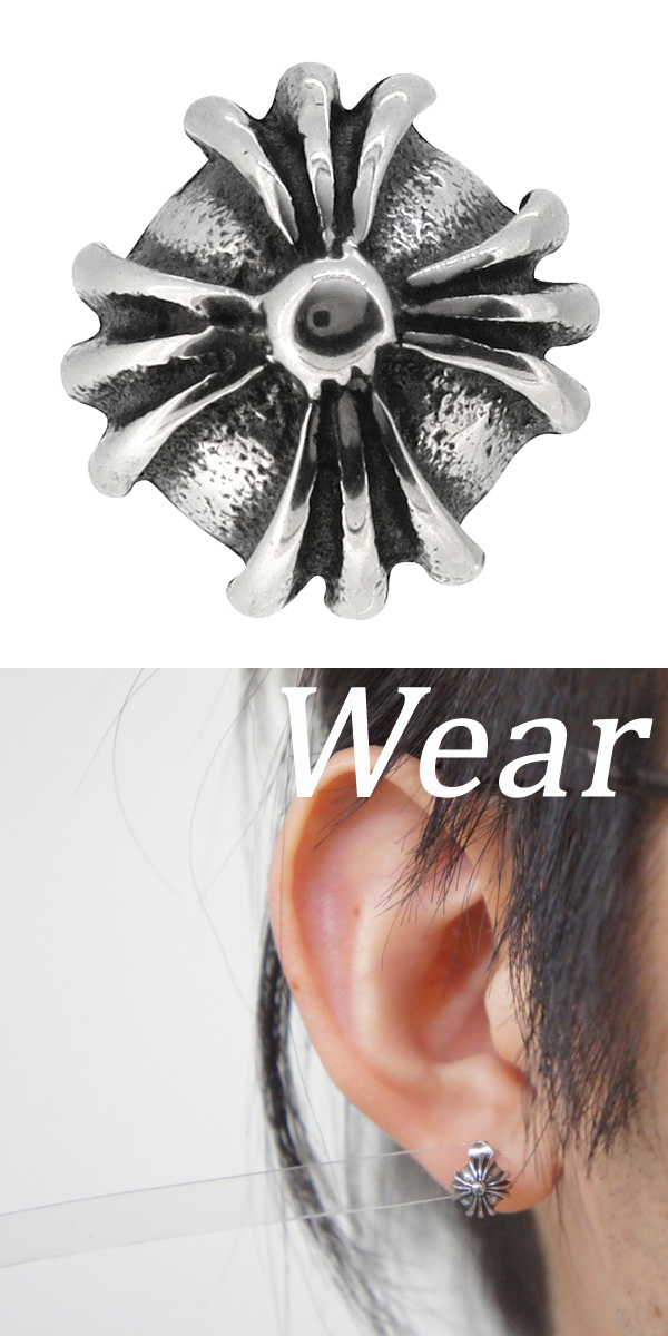 08ceb375a6784a It is the hemispheric stainless steel pierced earring which garnished a  cross type with a petal. I succeed in creating unique designs by matching  ...